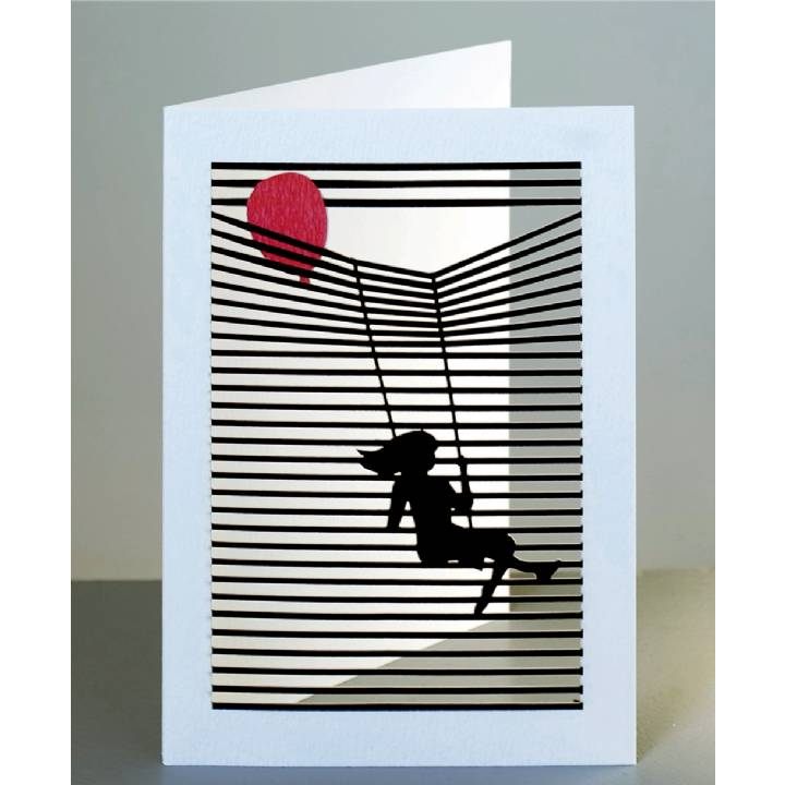 Girl on a swing with a balloon (pack of 6)