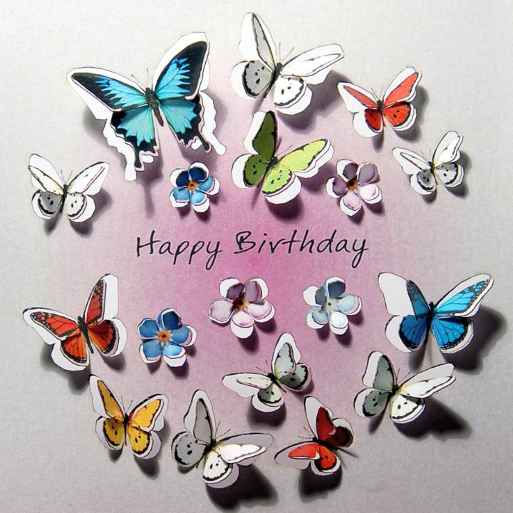 Circle of butterflies - happy birthday (pack of 6)
