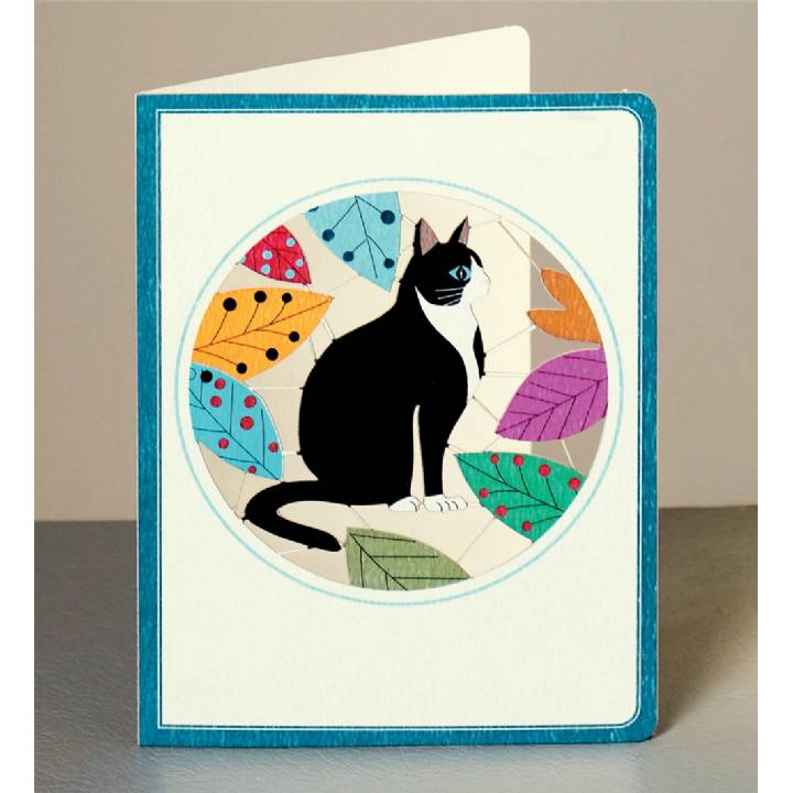 Happy black and white cat (pack of 6)