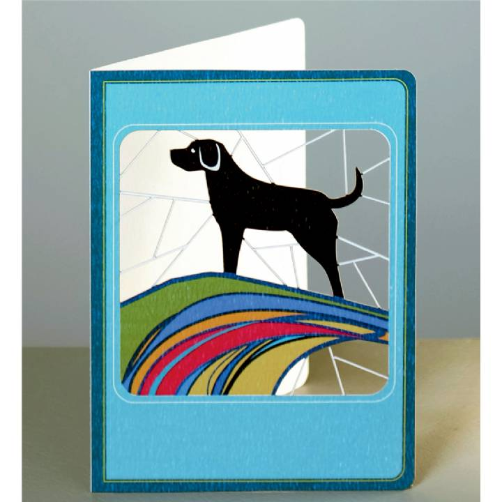 Black labrador on clifftop (pack of 6)