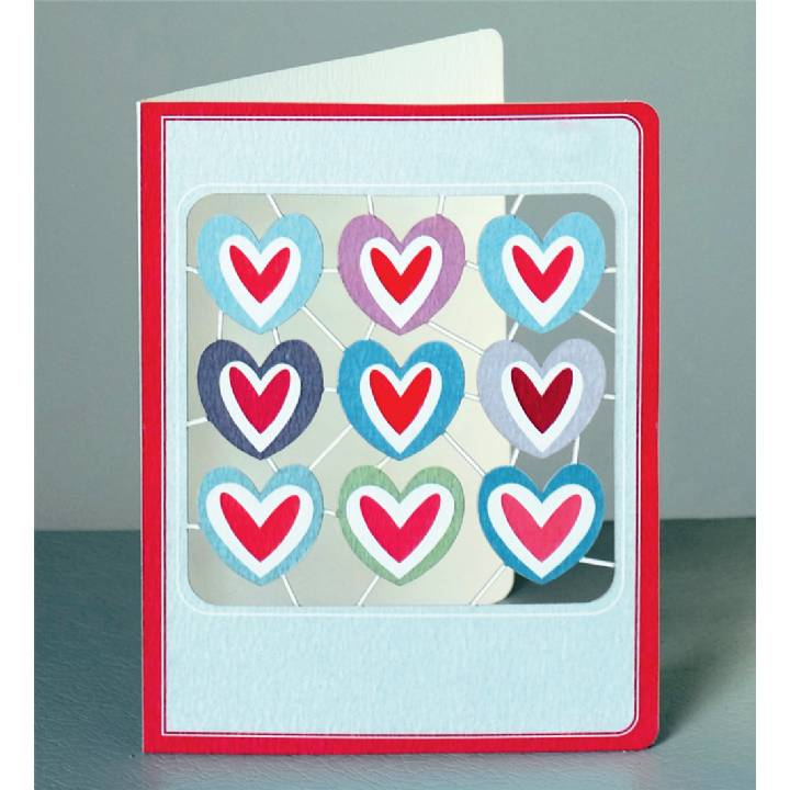 Nine heart square (pack of 6)