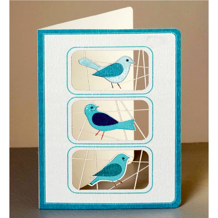 Three blue birds (pack of 6)