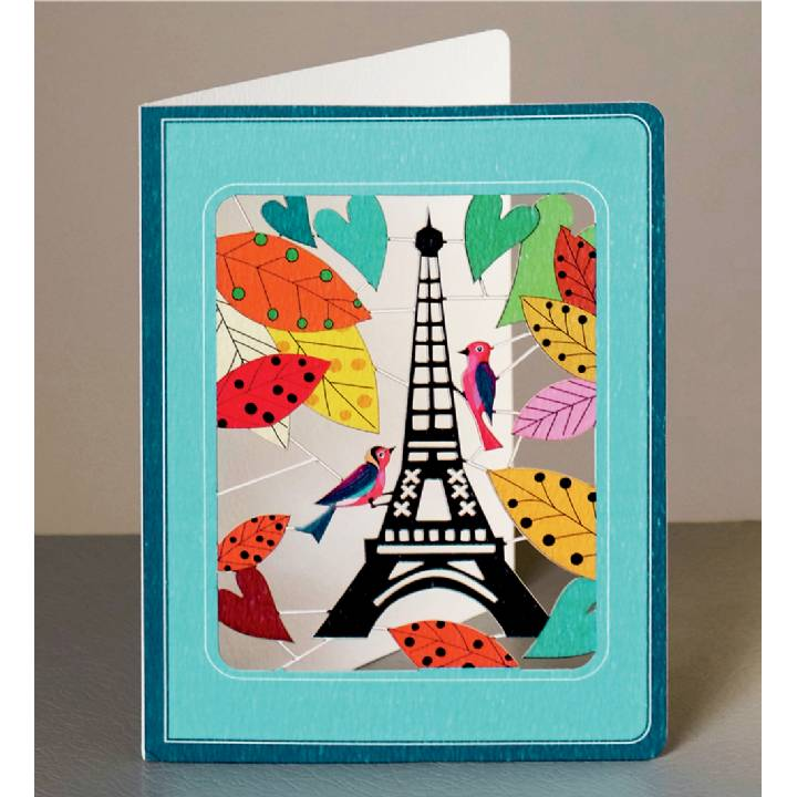 Eiffel Tower with woodpeckers (pack of 6)