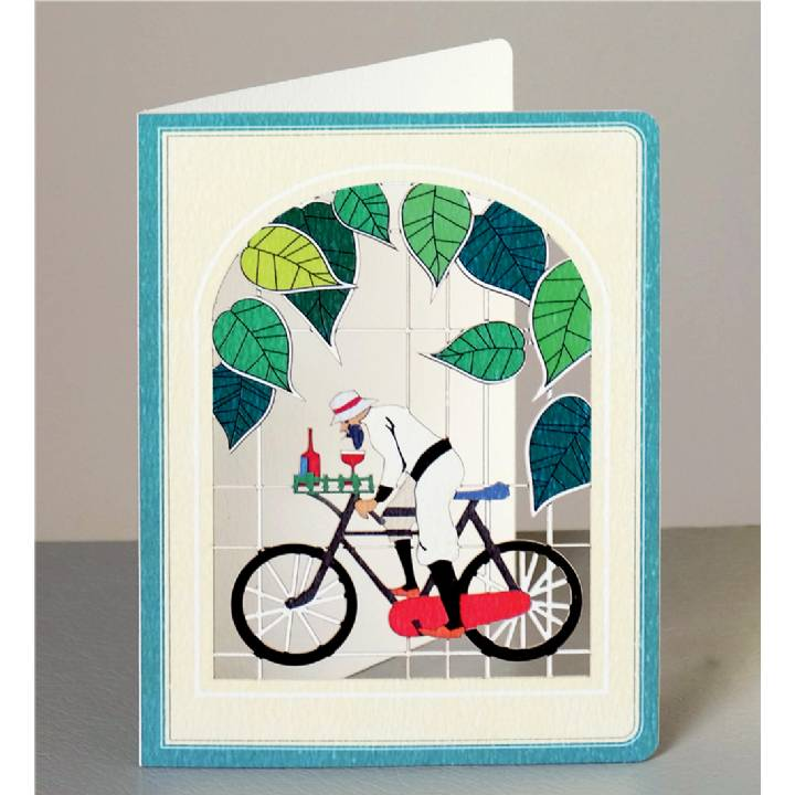 Cyclist with wine (pack of 6)