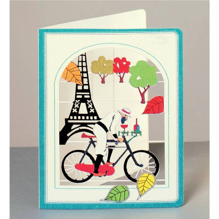 Cyclist with wine in front of Eiffel Tower (pack of 6)