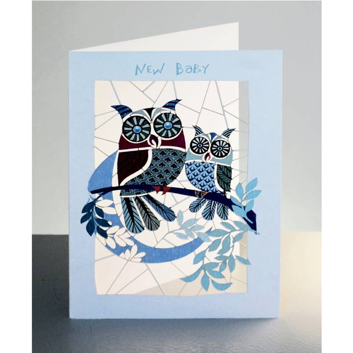 New baby - blue owls and moon (pack of 6)
