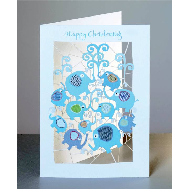 Christening - blue elephants (pack of 6)