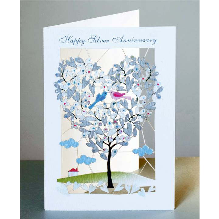 Silver anniversary - heart-shaped tree (pack of 6)