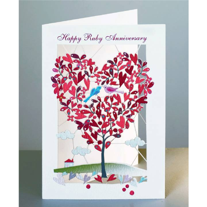Ruby anniversary - red heart-shaped tree (pack of 6)