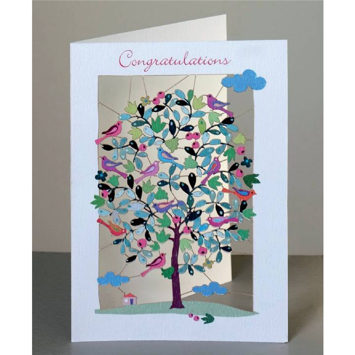Congratulations - tree and birds (pack of 6)