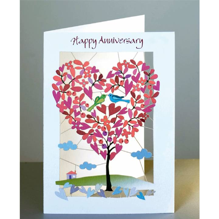 Happy anniversary - heart-shaped tree (pack of 6)