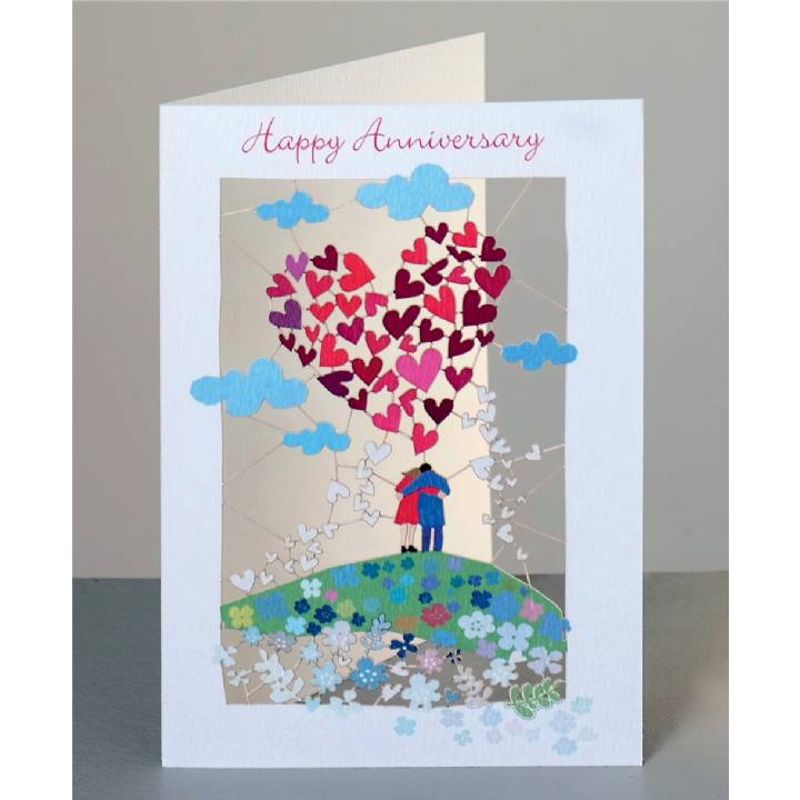 Anniversary - couple and big heart (pack of 6)