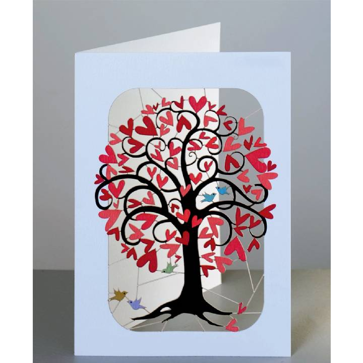 Curling red heart tree (pack of 6)