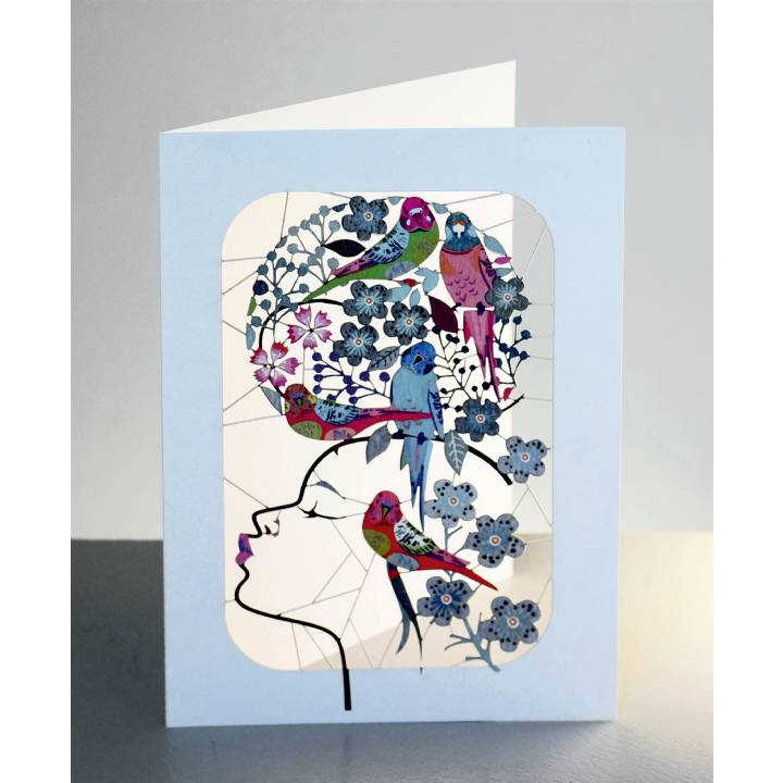 Girl with budgies and flowers (pack of 6)
