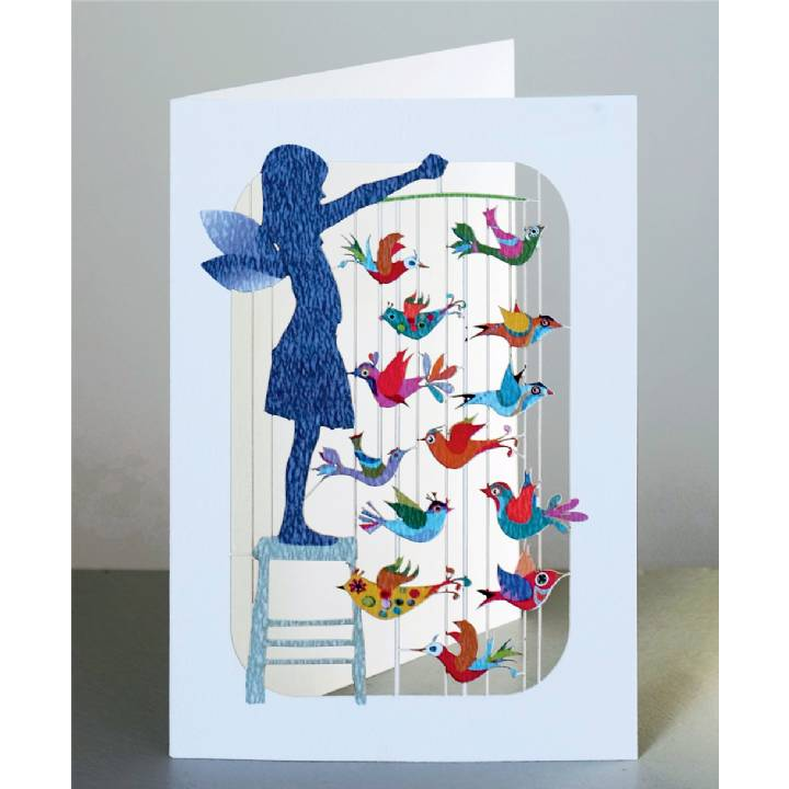 Girl with bird mobile (pack of 6)