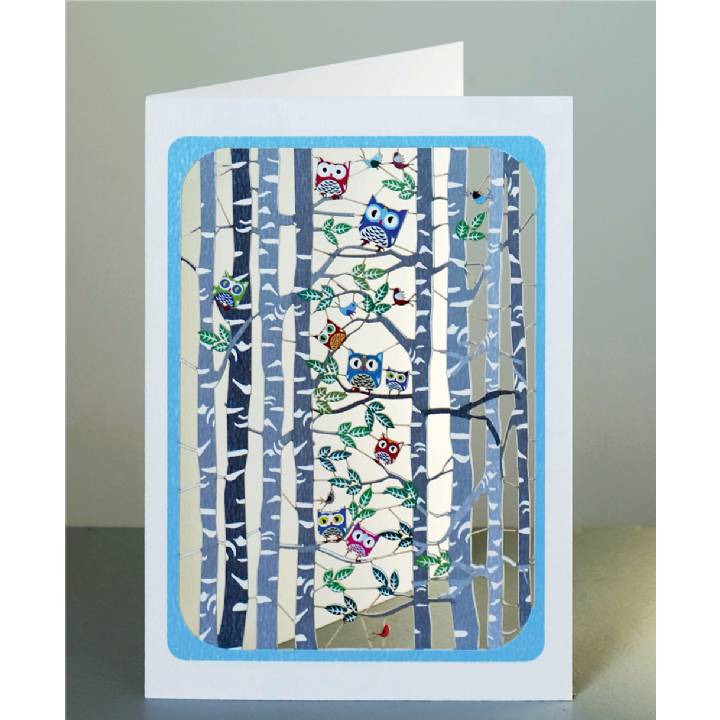 Birch trees and owls (pack of 6)