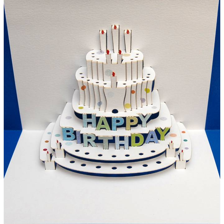 Happy Birthday cake - blue (pack of 6)