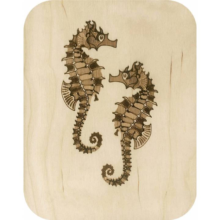 Wooden - etched seahorses (pack of 6)