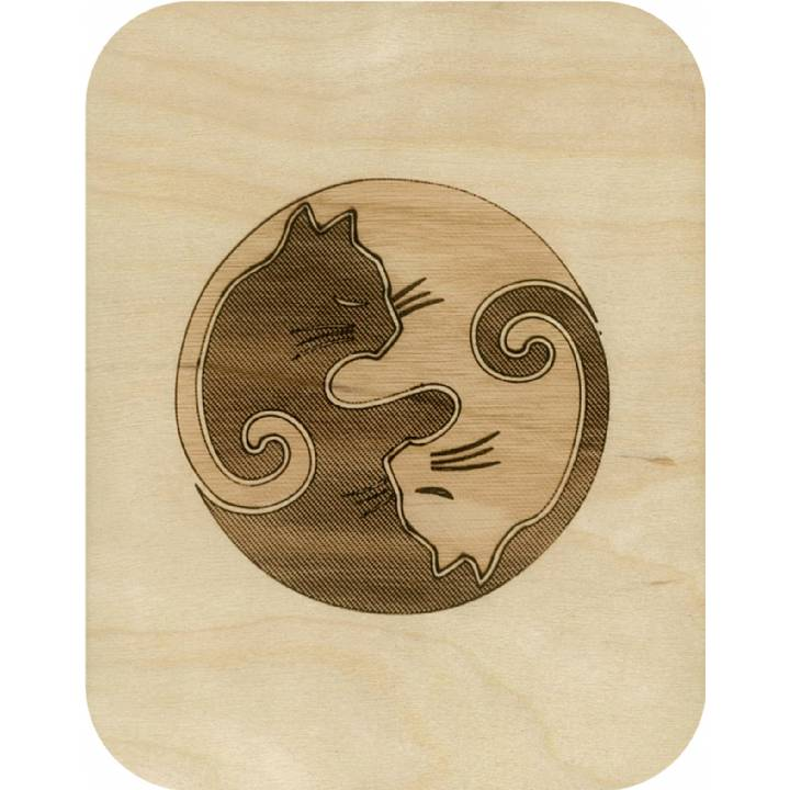 Wooden - yin-yang cats (pack of 6)