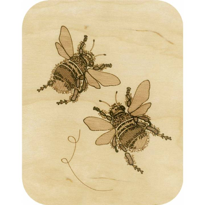 Wooden - two bumblebees (pack of 6)