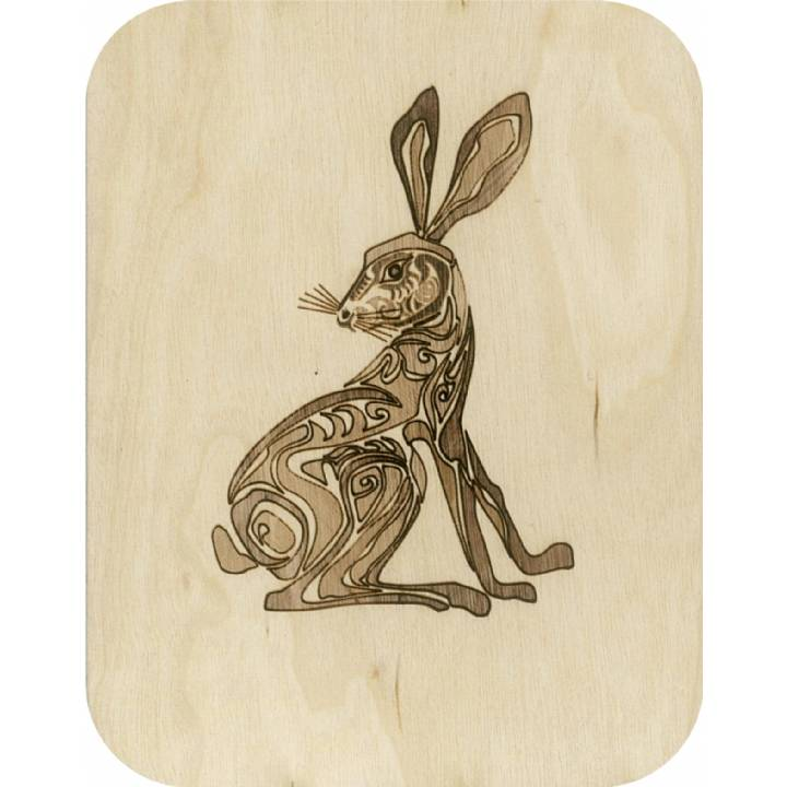 Wooden - etched hare (pack of 6)