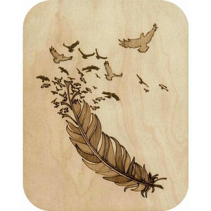 Wooden - feather and birds (pack of 6)
