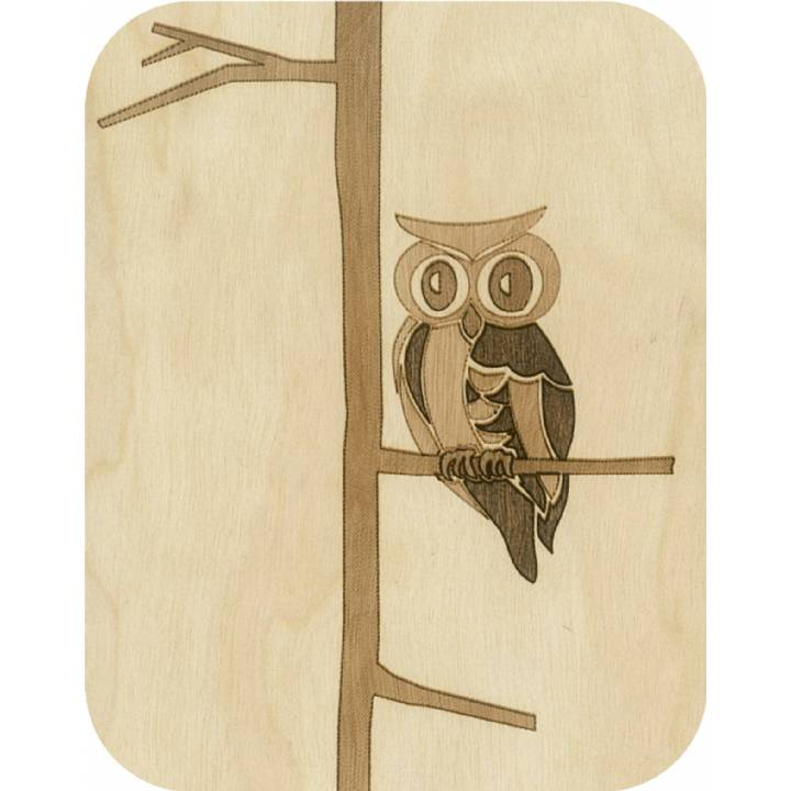 Wooden - owl in a tree (pack of 6)