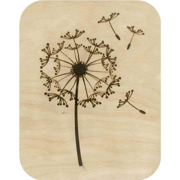 Wooden - dandelion clock - etched (pack of 6)