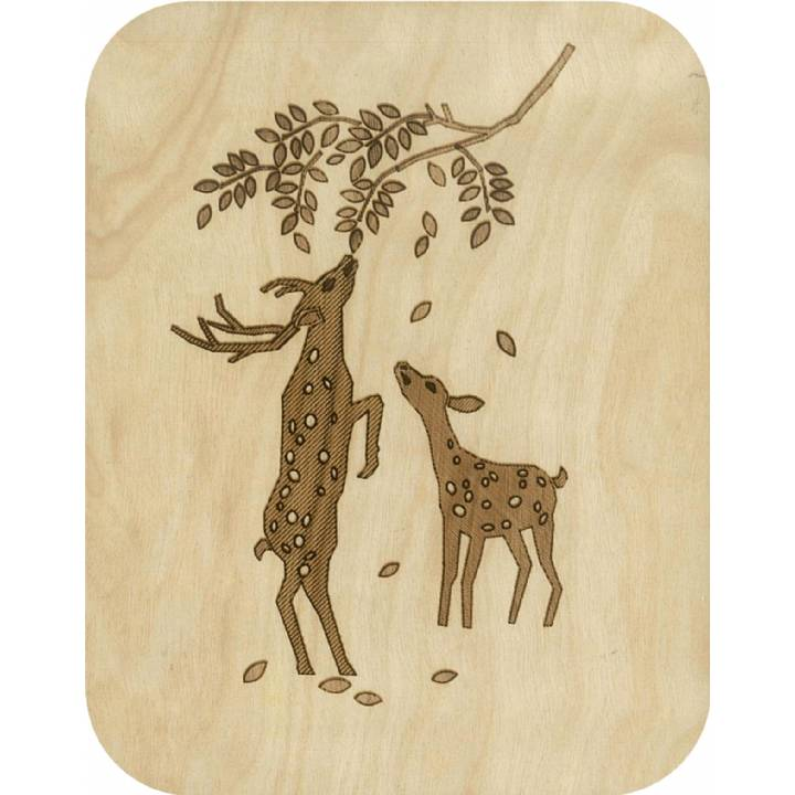 Wooden - deer browsing (pack of 6)