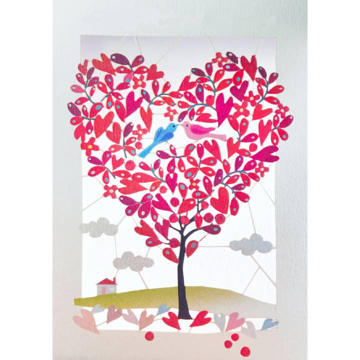 Red heart-shaped tree (pack of 6)