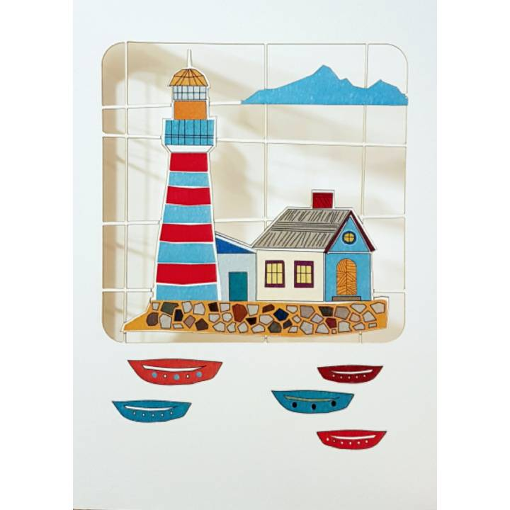 Blue and red lighthouse (pack of 6)