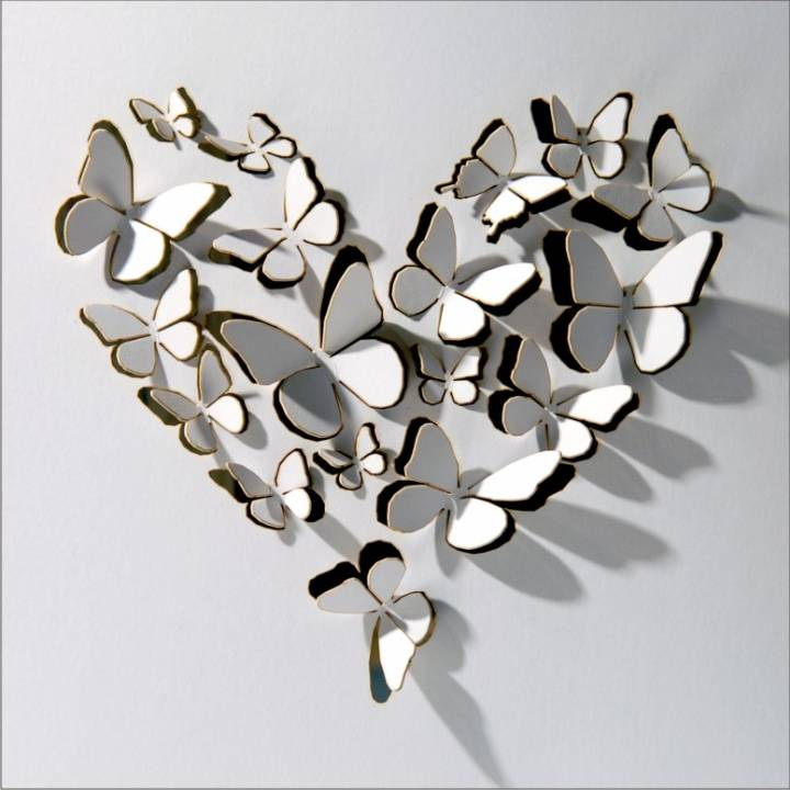 Heart of butterflies - white (pack of 6)