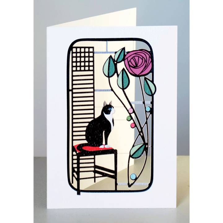 Black and white cat and rose (pack of 6)