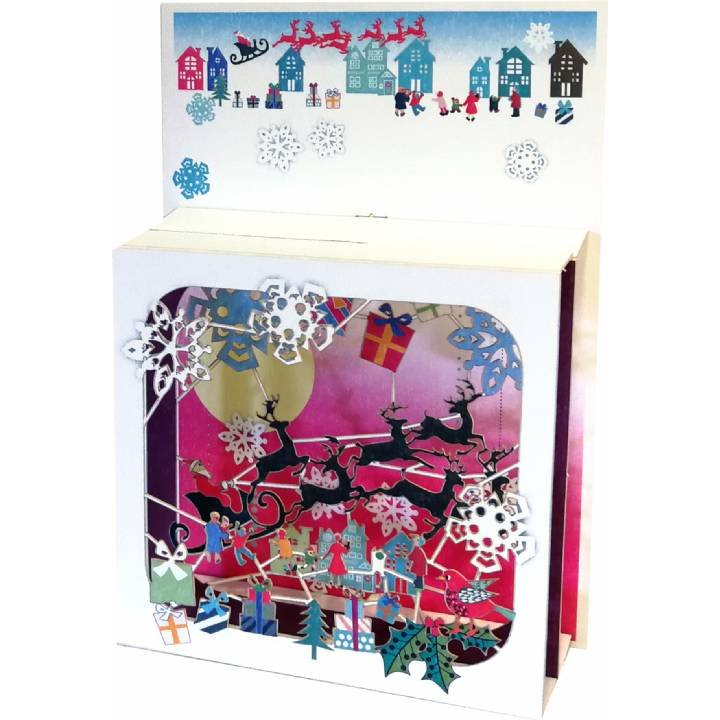 Christmas - Santa over the rooftops (pack of 6)