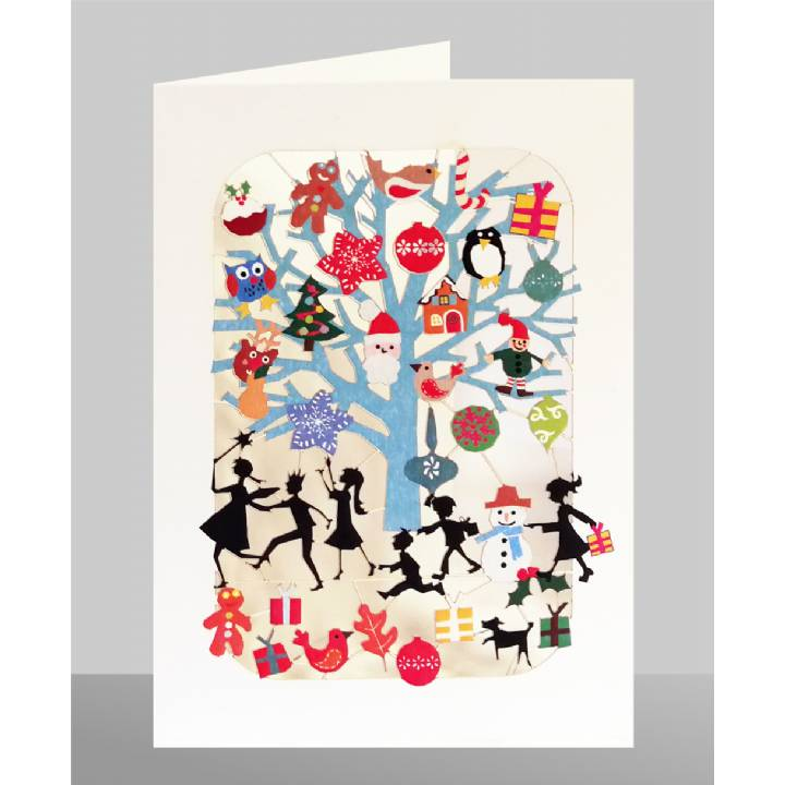 Kids playing, gifts on tree (pack of 6)