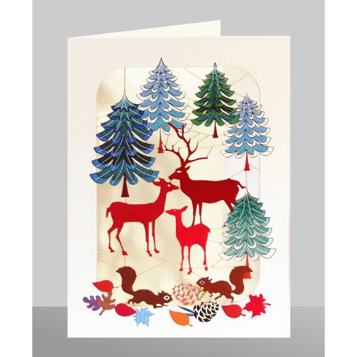 Deer family in forest (pack of 6)