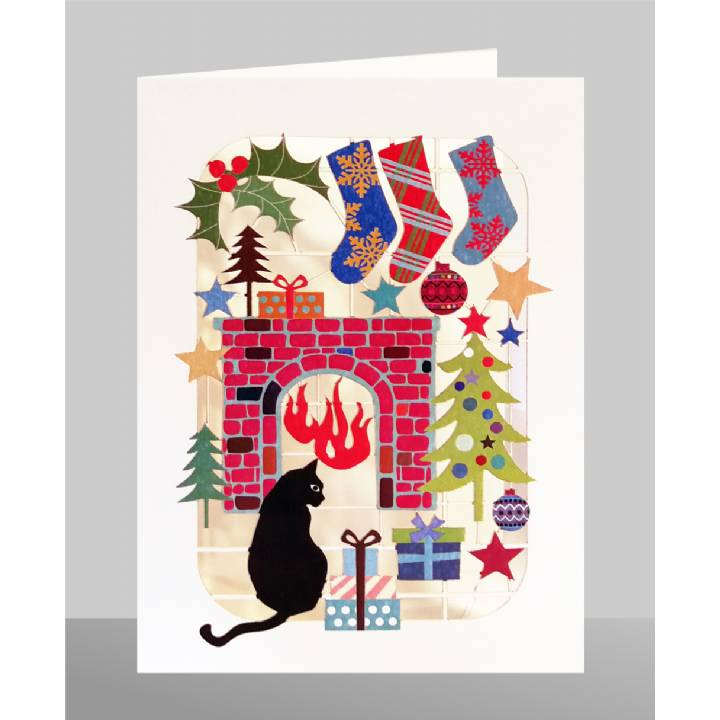 Cat in front of fire (pack of 6)