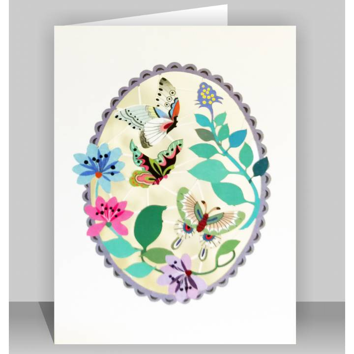 Butterflies in purple oval (pack of 6)