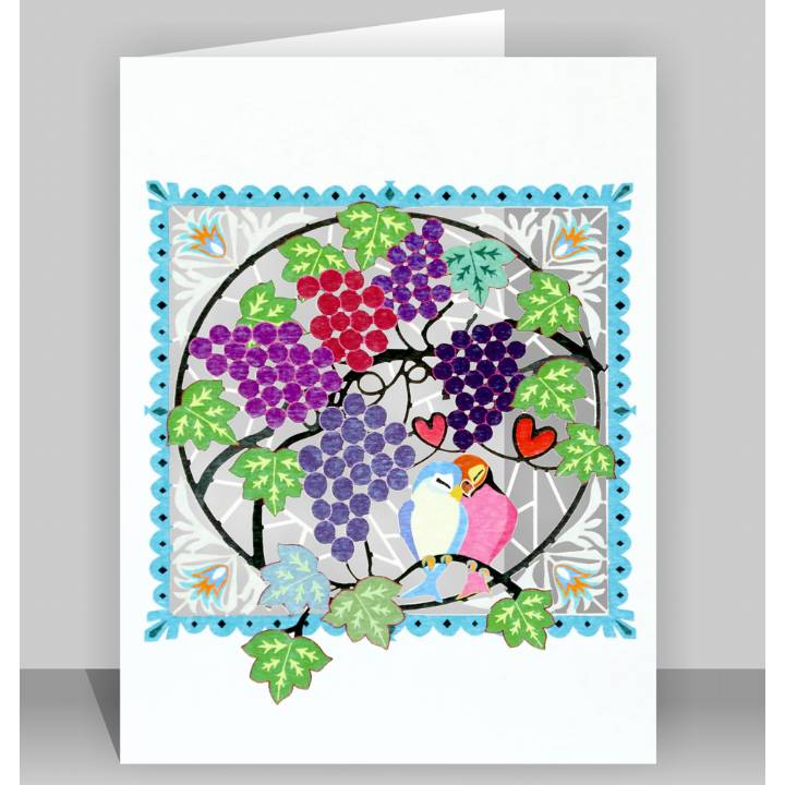 Lovebirds and grapes (pack of 6)