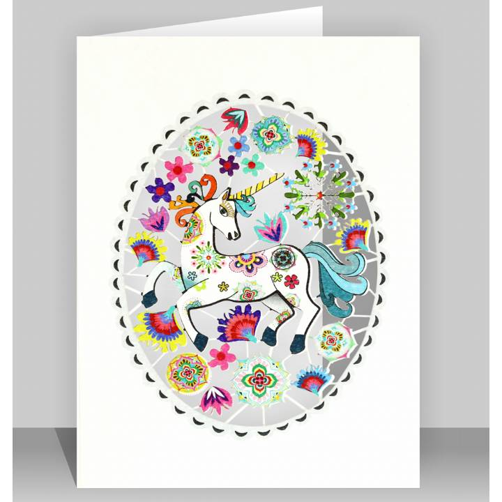 Unicorn in a grey oval (pack of 6)
