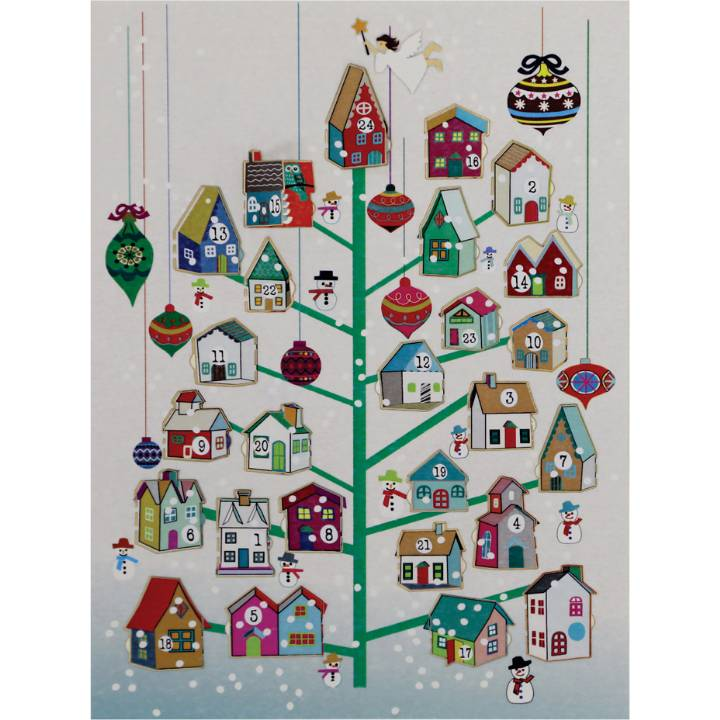 Advent Calendar - green tree with houses (pack of 6)