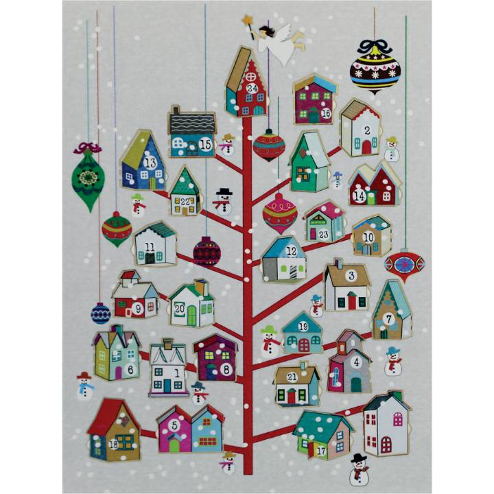 Advent Calendar - red tree, houses (pack of 6)