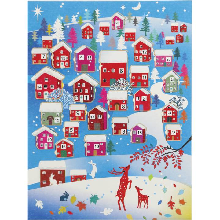 Advent Calendar - red deer, houses (pack of 6)