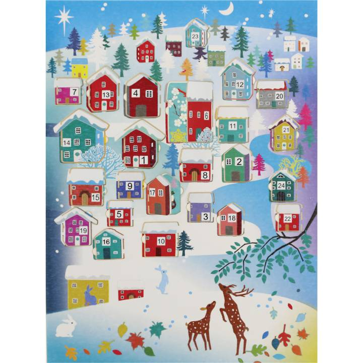 Advent Calendar - brown deer, houses (pack of 6)