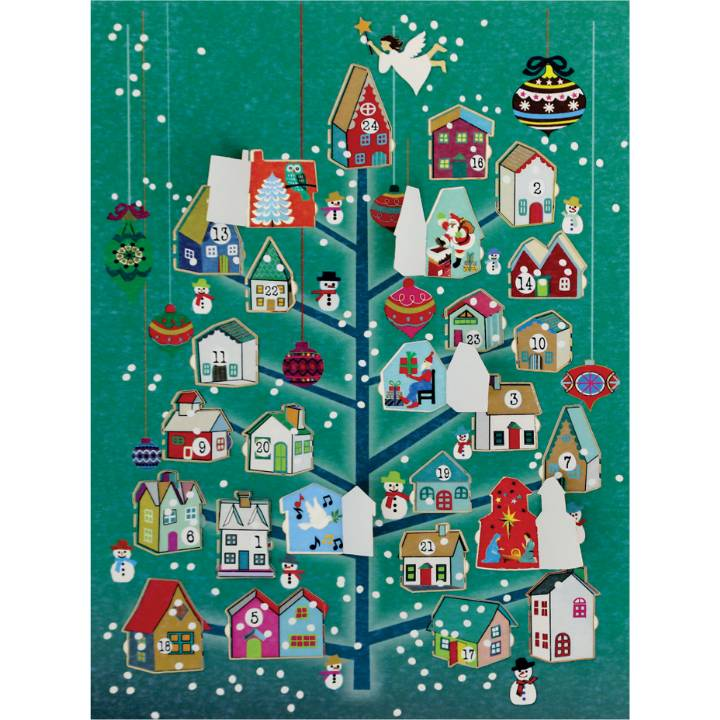 Advent Calendar - tree, houses (pack of 6)