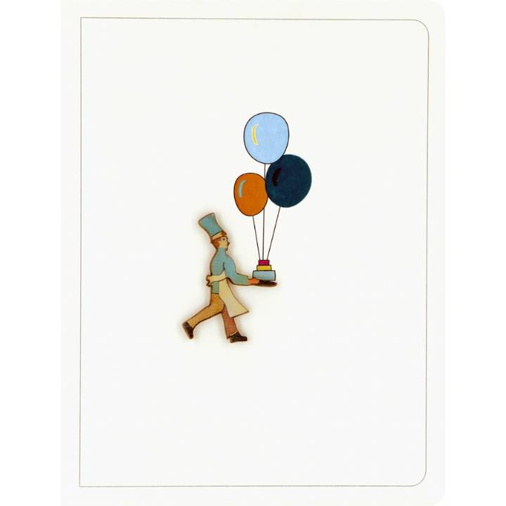 Chef carrying cake & balloons (pack of 6)
