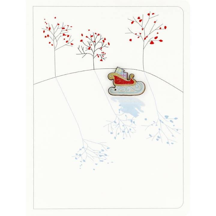 Sleigh & trees (pack of 6)